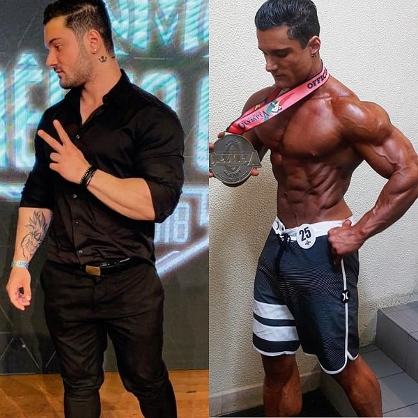 Rafael Rey before-after photo posing shirtless with a bodybuilding trophy