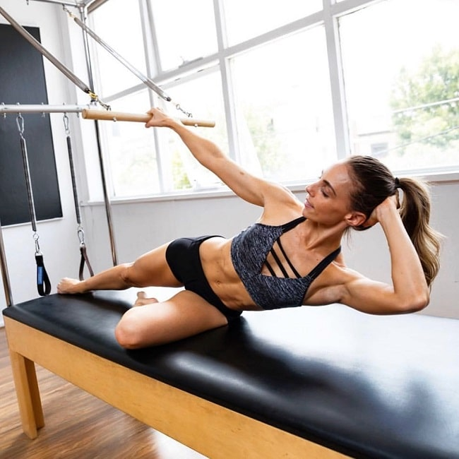 Sara Colquhoun doing pilates looking fit and toned
