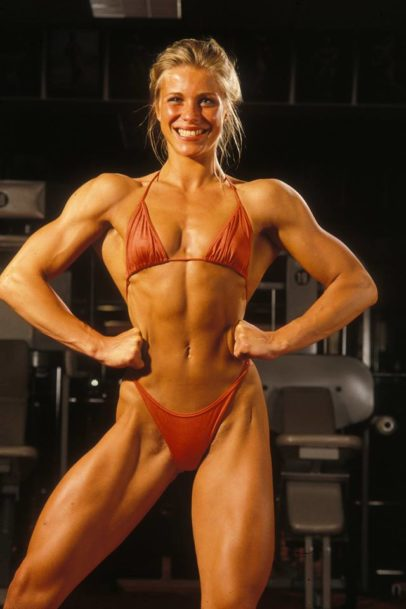 Anja Langer flexing for the camera looking fit and lean
