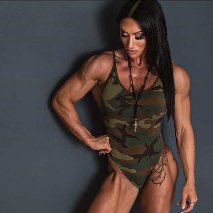 Azaria Glaim posing in a fitness photo shoot, looking strong and fit