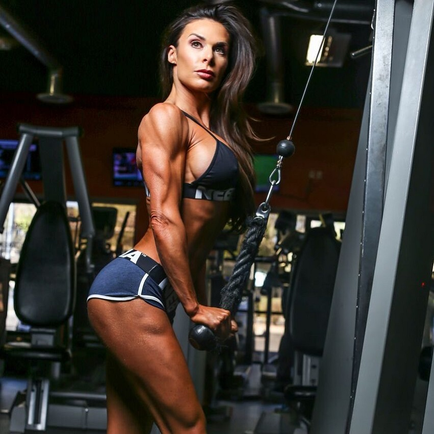 Camile Periat doing triceps extensions looking fit and strong