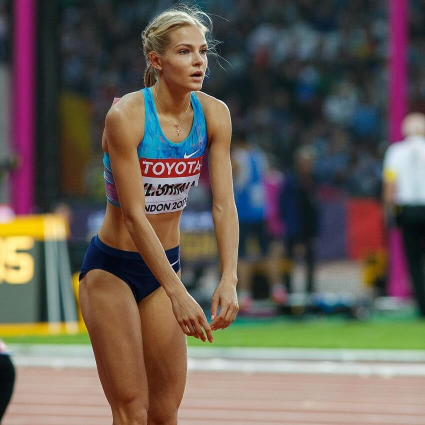 Darya Klishina preparing for her long jump looking fit and strong