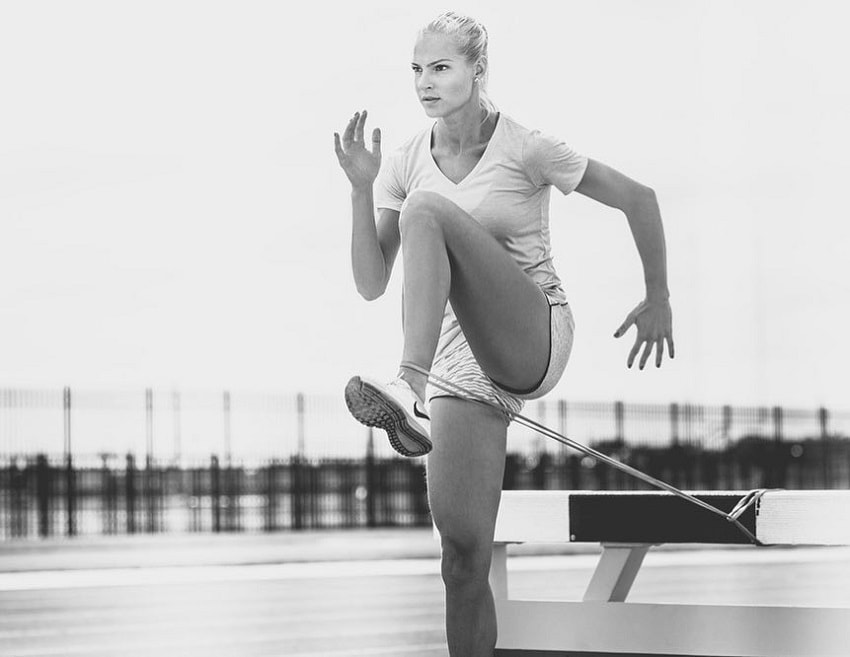 Darya Klishina exercising outdoors
