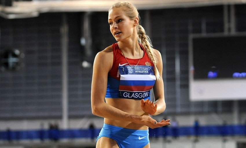 Darya Klishina preparing to do a long jump during a competition