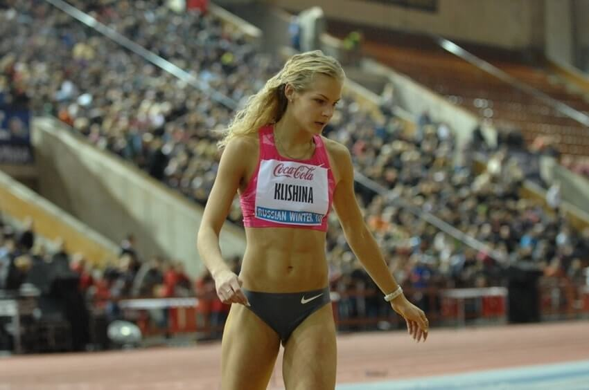 Darya Klishina during a long jump competition in front of a huge crowd
