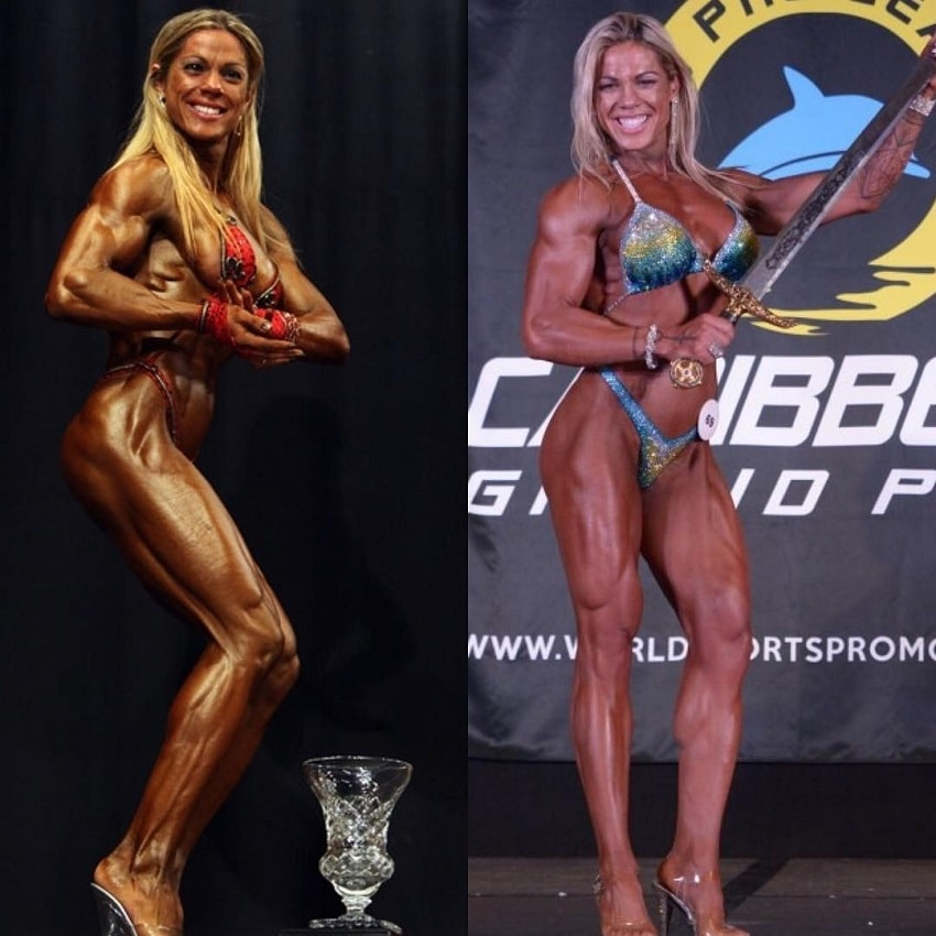 Dora Rodrigues posing on the fitness and figure stage with her trophies