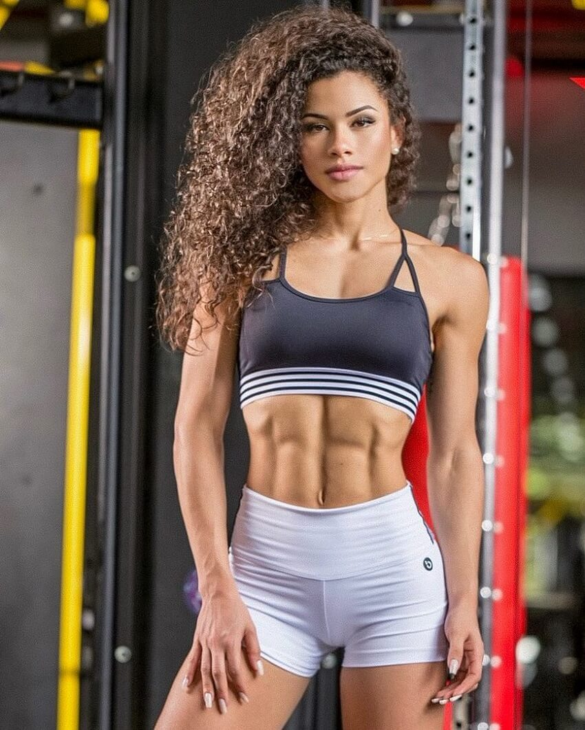 Etila Santiago showing off her ripped abs