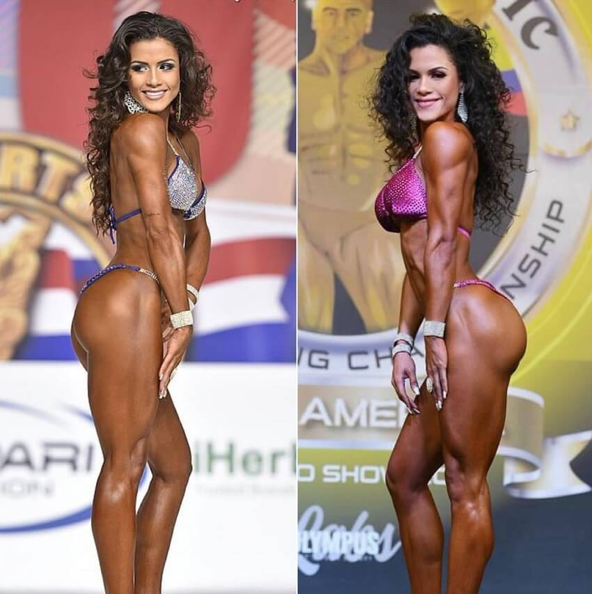 Etila Santiago posing on a fitness bikini stage, before-after