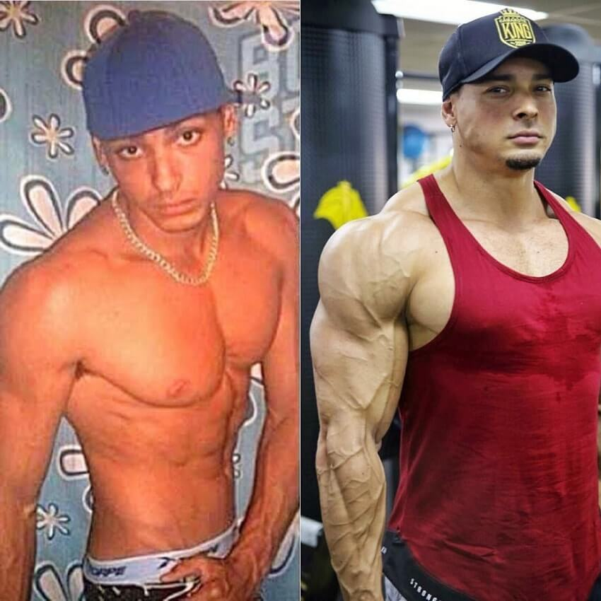 Felipe Franco's bodybuilding transformation before-after