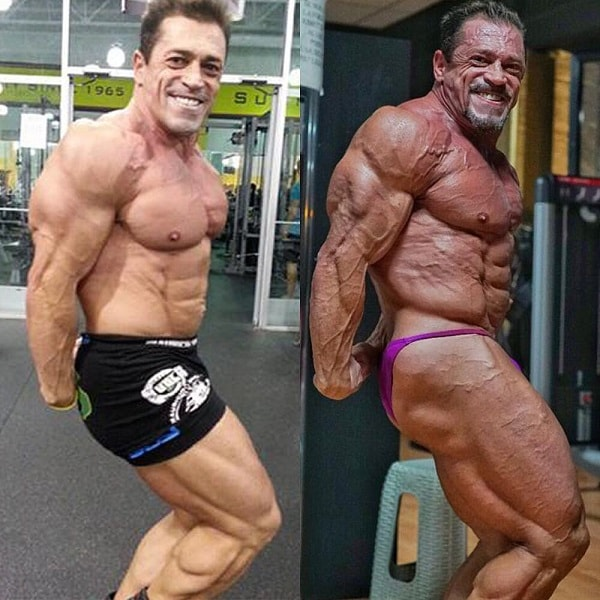 Fernando Sardinha performing a side triceps pose before and after