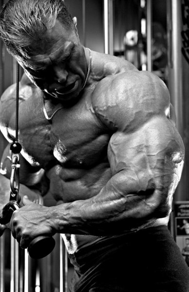 Gary Strydom doing triceps cable pushdowns, looking ripped and huge