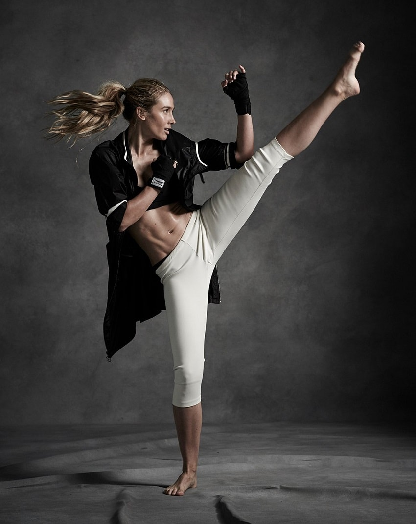 Natalie Uhling performing a high leg kick