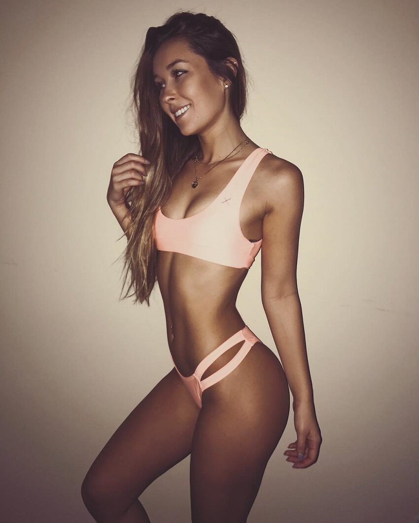 Nicky Gile posing in a bikini looking fit and lean