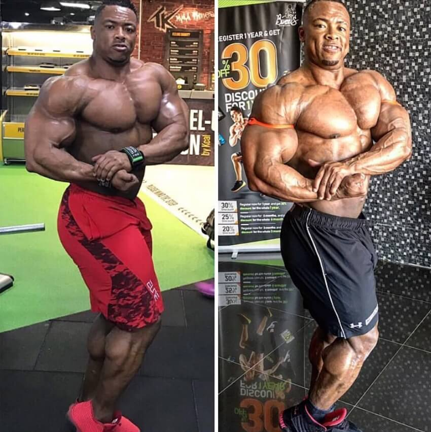 Ricardo Correia flexing side chest before-after
