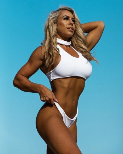 Tamara Meyer posing outdoors for a fitness photo event, looking fit and lean