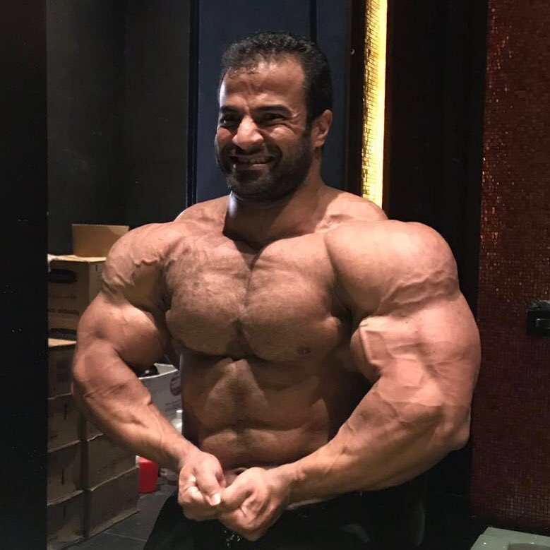Ahmed Elsadany posing shirtless, looking huge and muscular