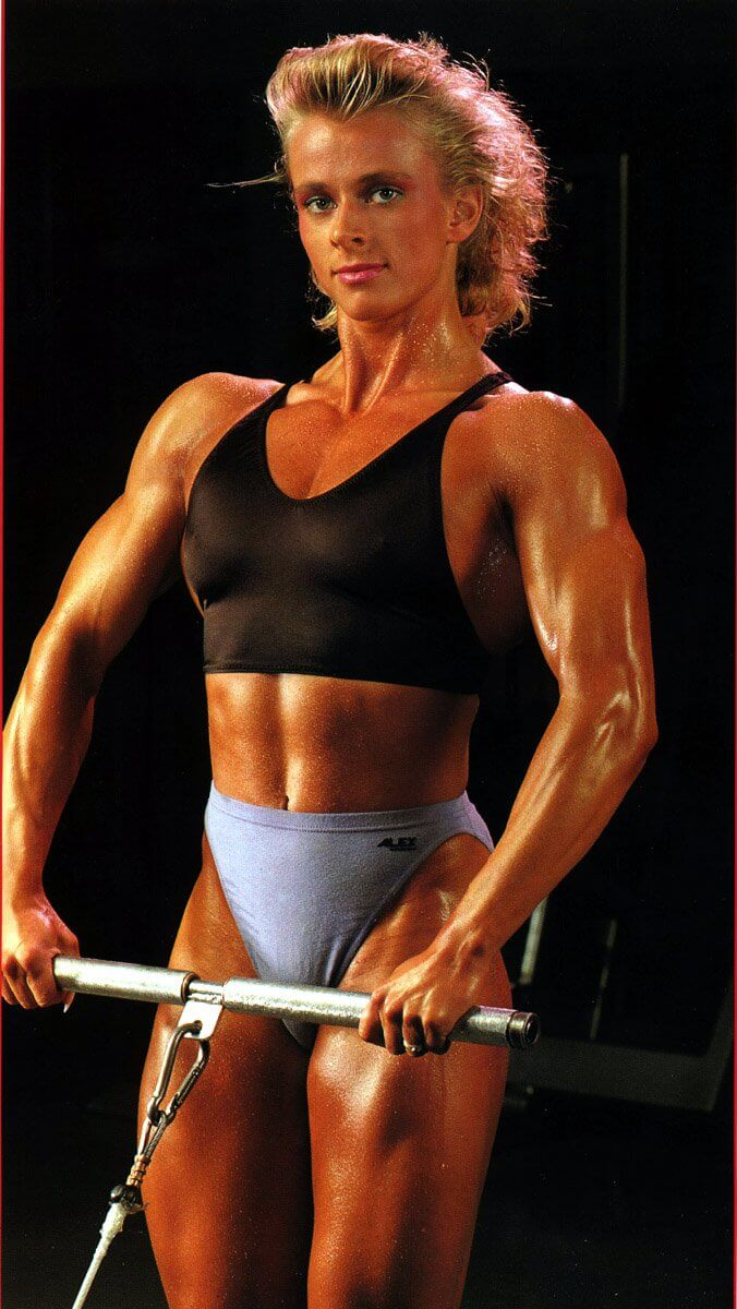 Anja Schreiner training in the gym looking fit and lean