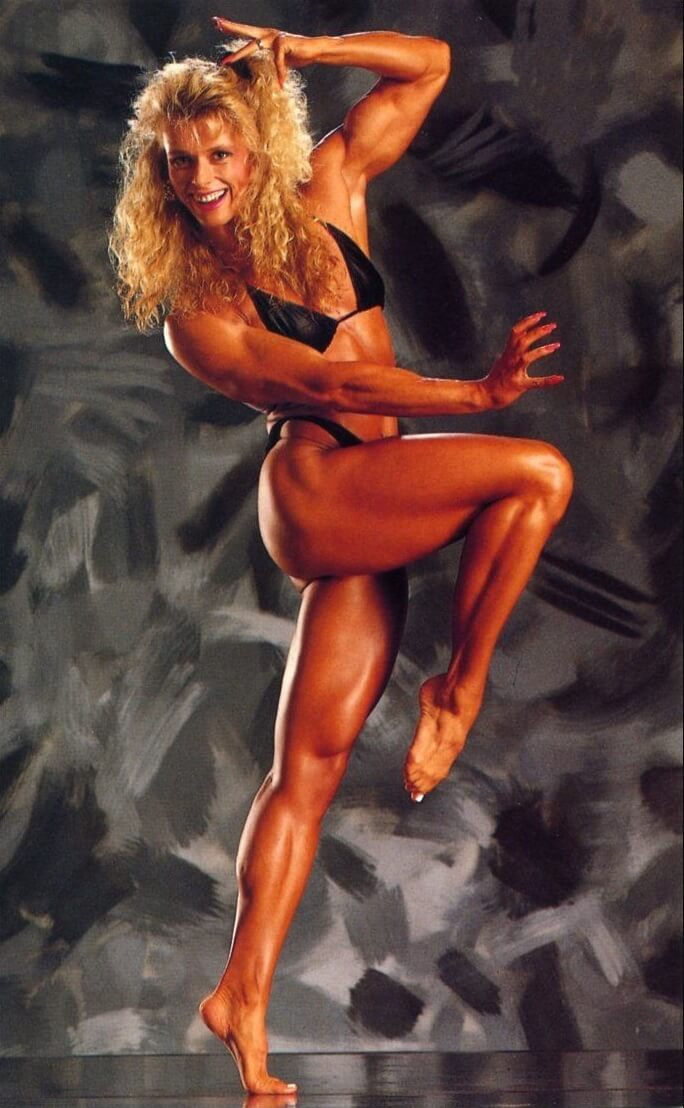 Anja Schreiner showcasing her toned and lean body in a bodybuilding photo shoot