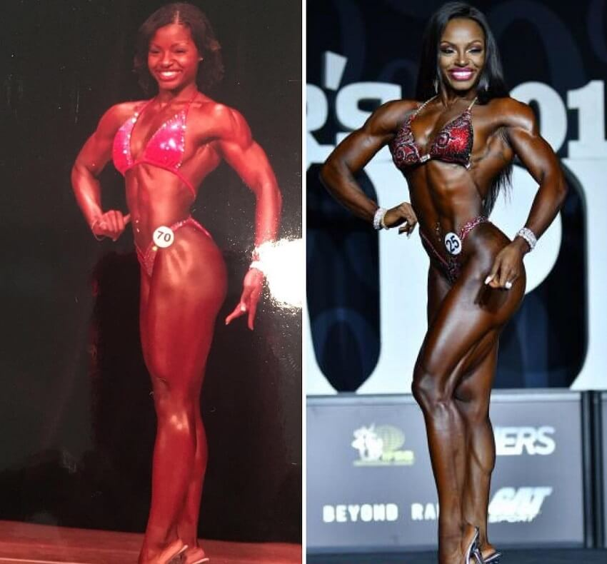 Cydney Gillon's transformation on the bodybuilding stage, before-after