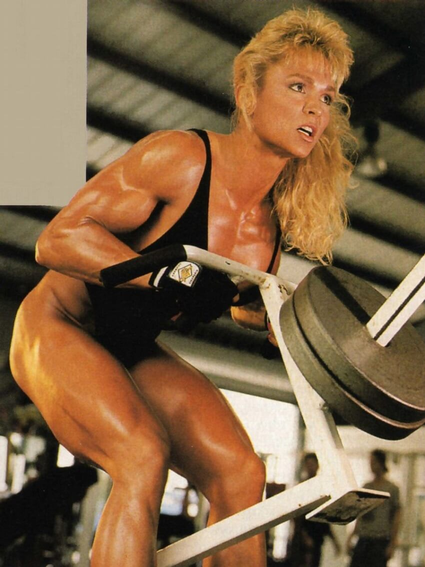 Tonya Knight doing T-Bar rows in a gym
