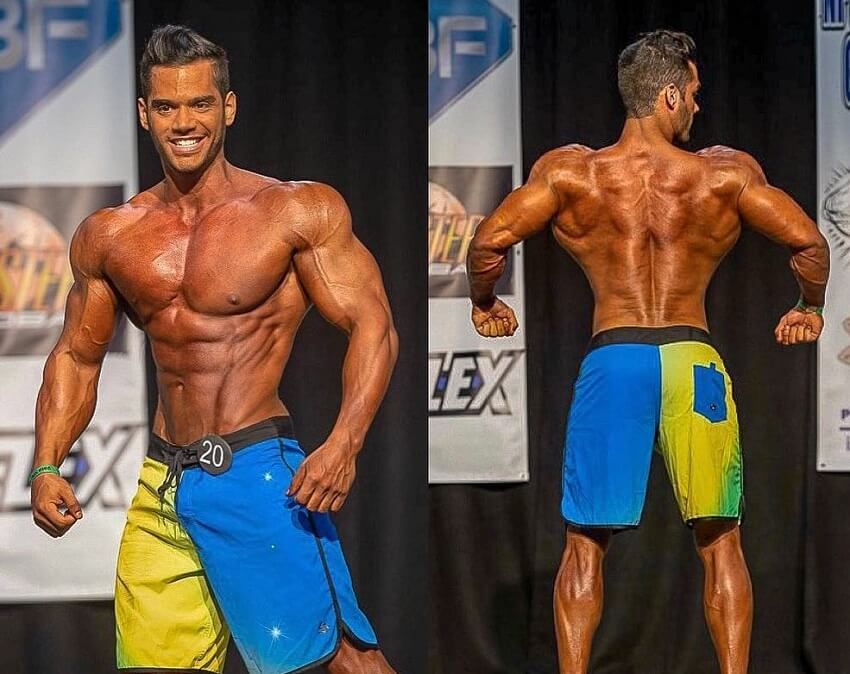 Geder Rocha posing on the bodybuilding stage