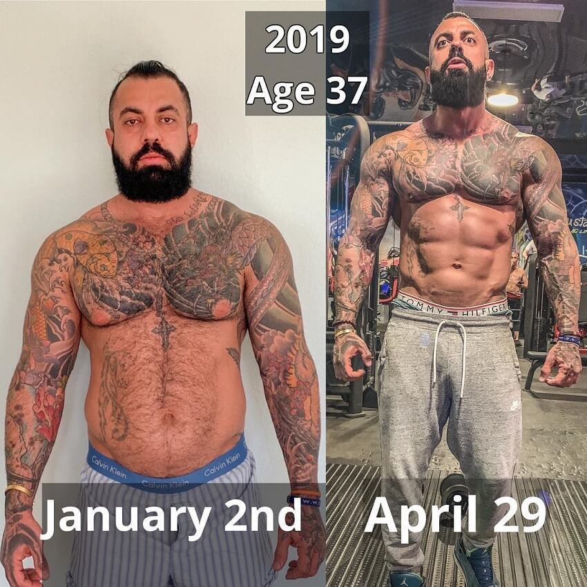 Jack Torosian 3 month physique transformation before-after