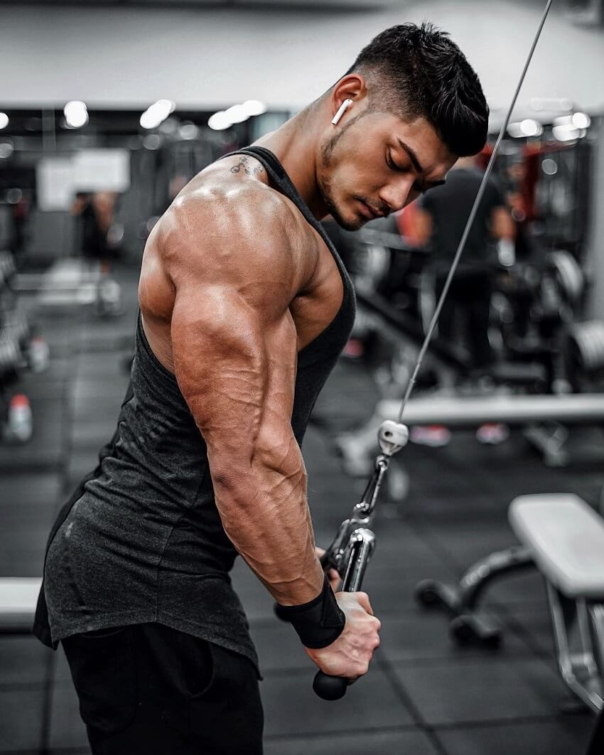 Nicolas Iong working out his huge and ripped triceps in the gym
