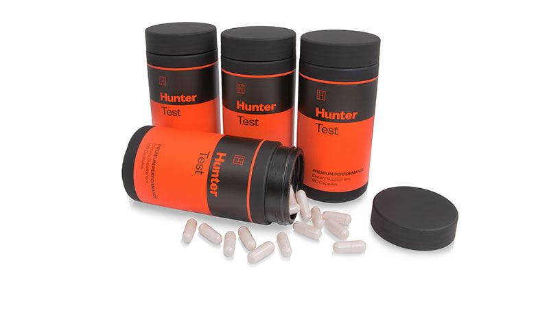 Four bottles of Hunter Test, the best testosterone booster for men over 50