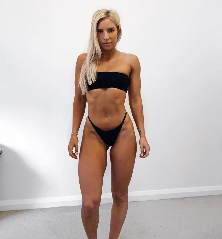 Soph Allen posing in a bikini looking fit and lean