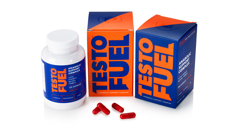 Two boxes and a bottle of TestoFuel testosterone booster