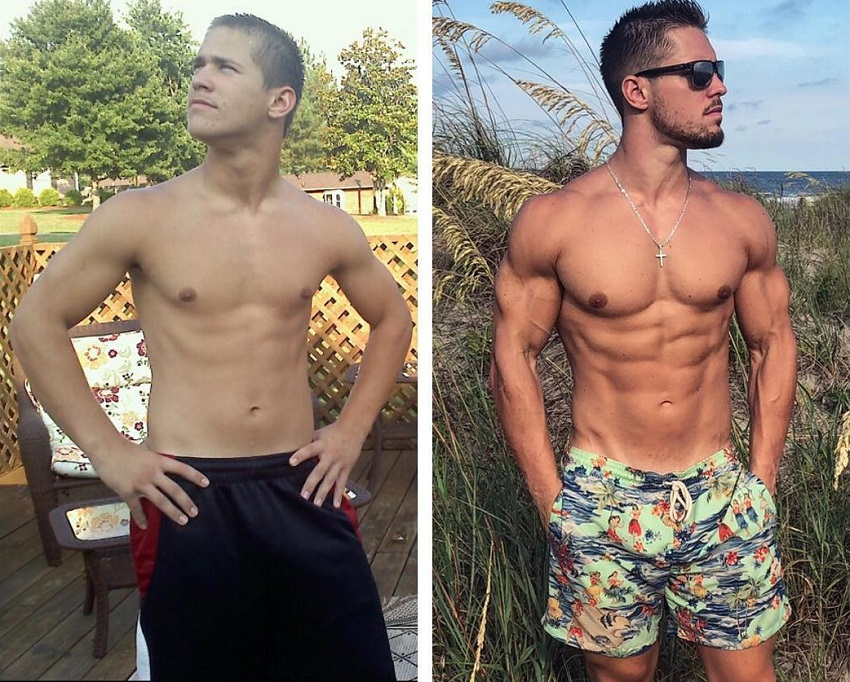 Jordan Strickland's transformation before and after starting his fitness journey