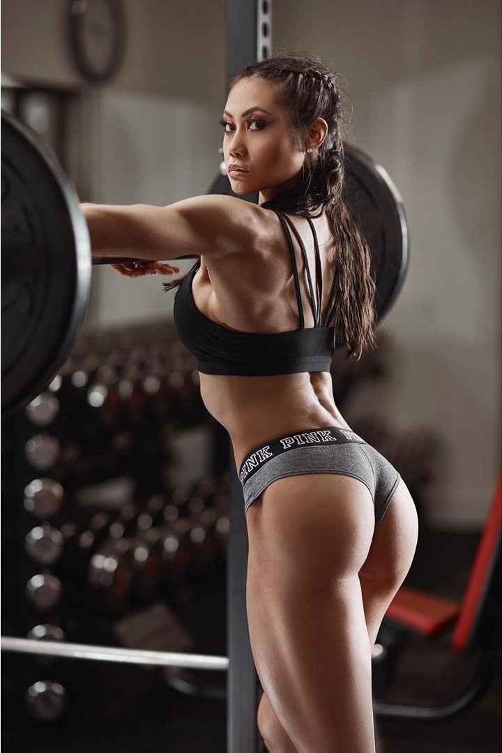 Jayne Lo showcasing her curvy legs and glutes in a fitness photo shoot