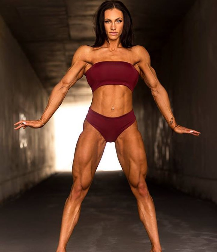Melissa Bumstead posing in a professional fitness photo shoot looking aesthetic, muscular, and lean