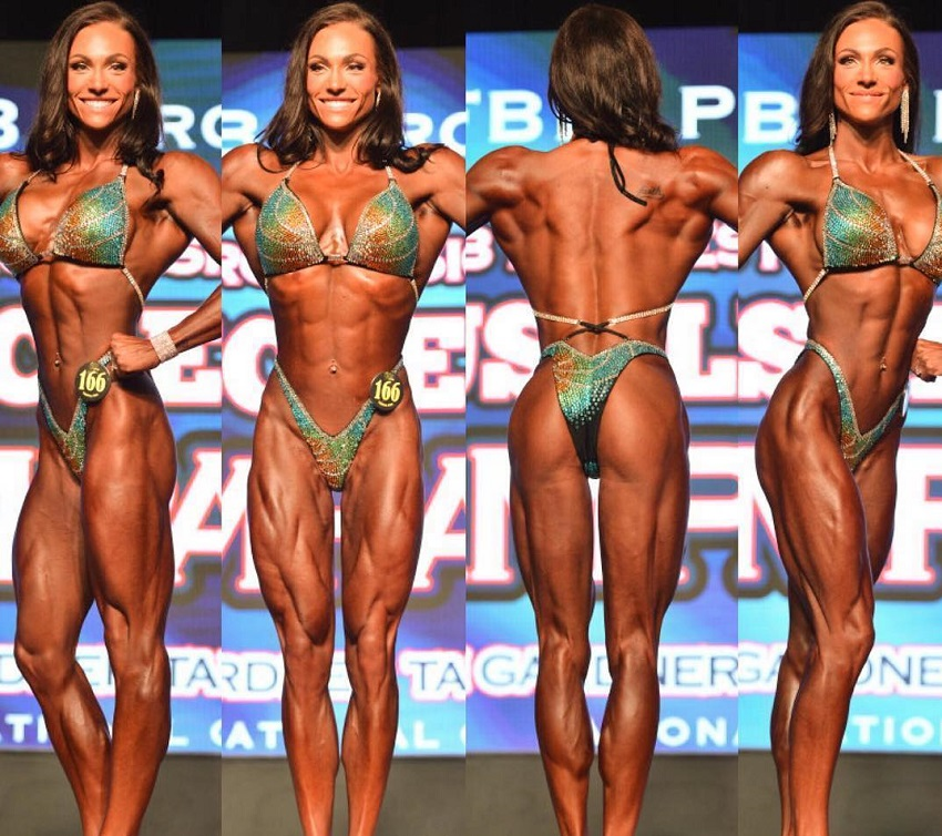 Melissa Bumstead in various poses on the bodybuilding stage