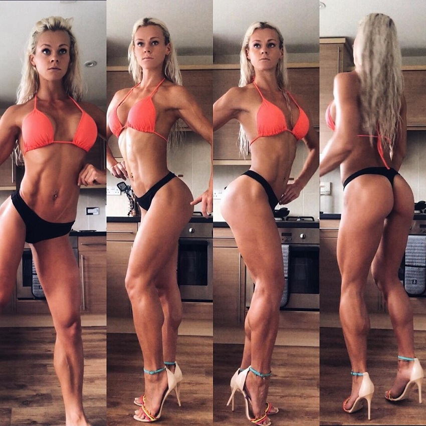 Sarah Holden doing different poses to showcase her amazing physique
