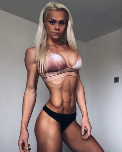 Sarah Holden posing in a bikini looking fit and lean