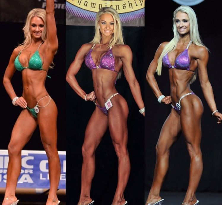 Whitney Wiser posing on the bikini stage looking lean