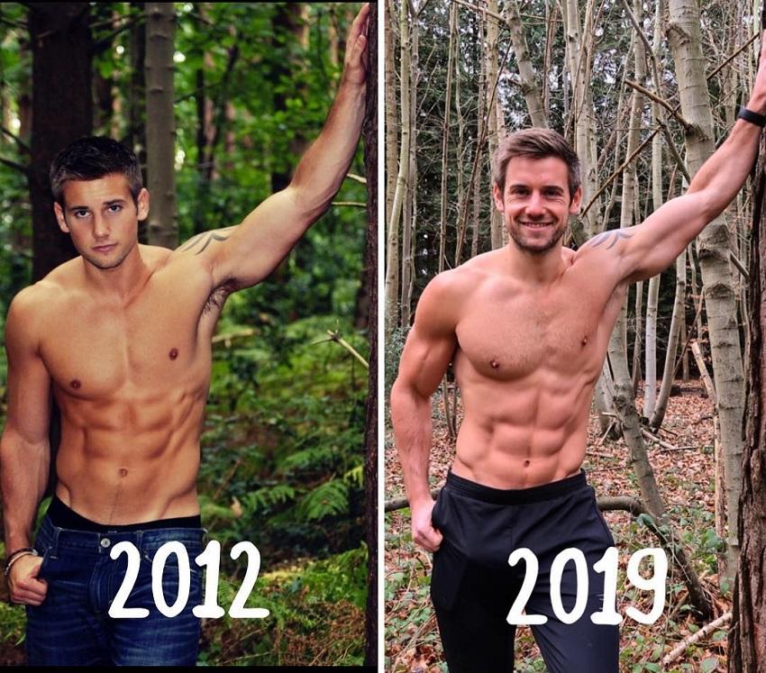 Alex Crockford body transformation from 2012 to 2019