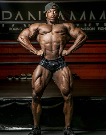 Rickey Moten doing a front lat spread pose