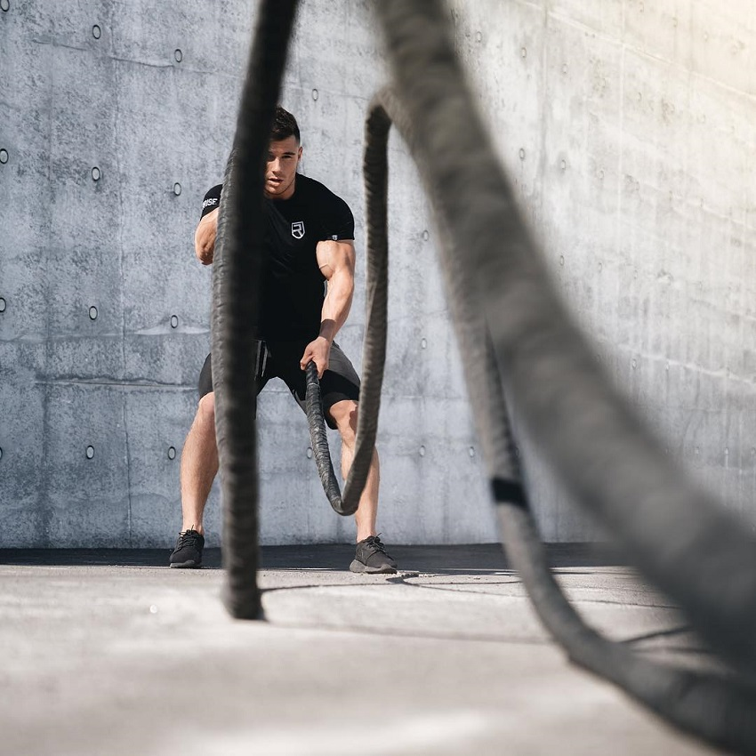 Bryan McCormick doing battle ropes