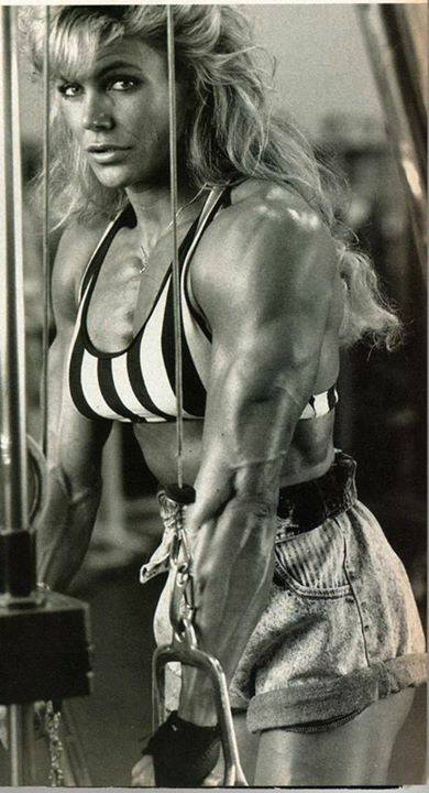 Sandy Riddell training her arms in the gym