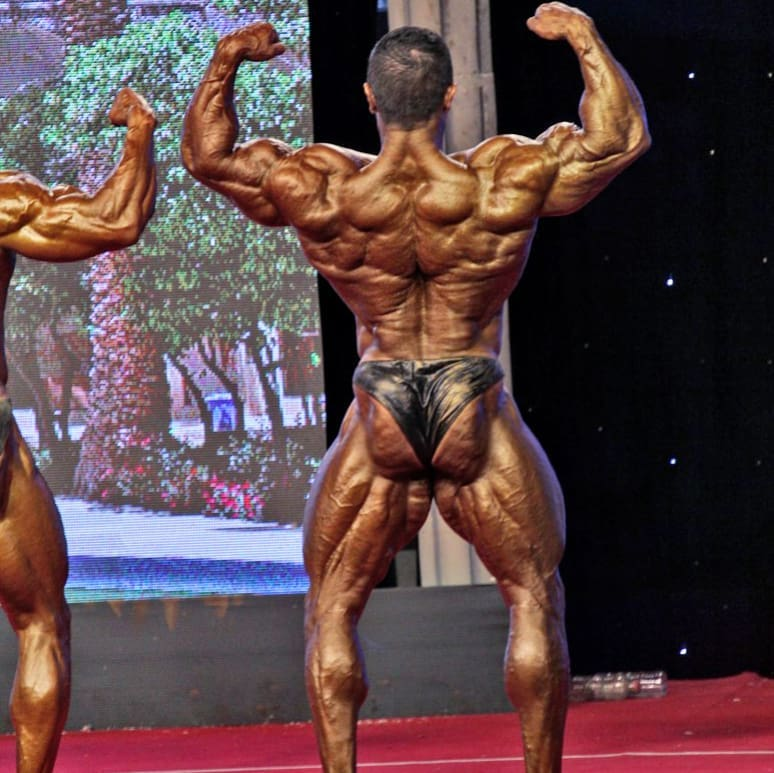 Majid Jameh Bozorg performing a back double biceps pose in a bodybuilding show