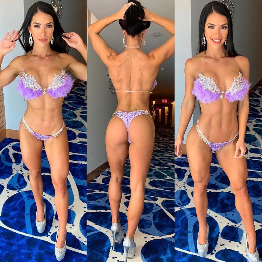 Rachel Dillon posing in a WBFF bikini outfit